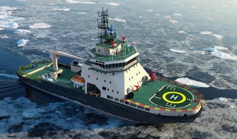 """Ледокол нового поколения """"Илья Муромец"""", который по своим характеристикам обладает возможностями эффективно выполнять задачи в арктических морях в сложной ледовой обстановке"""