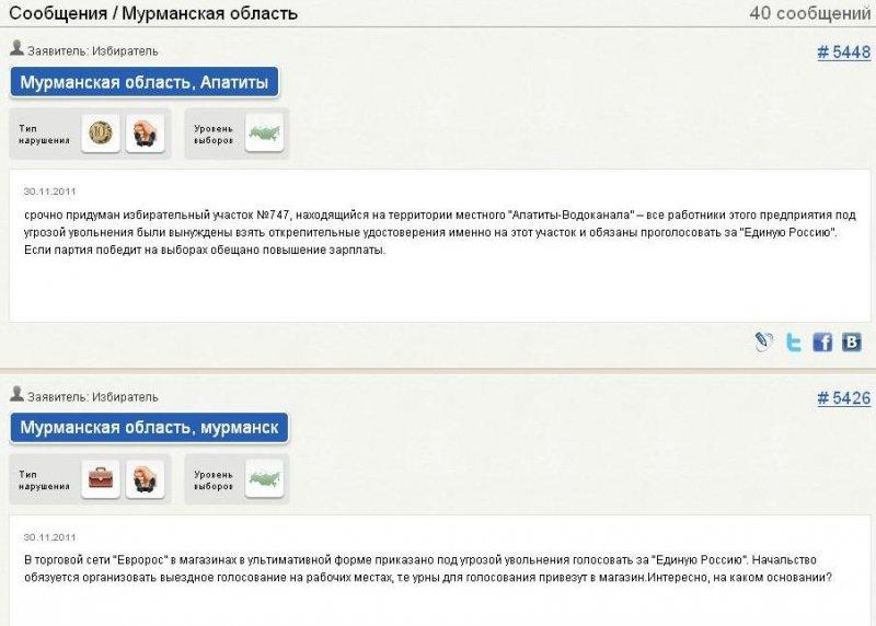 Сообщения о нарушениях в Мурманской области
